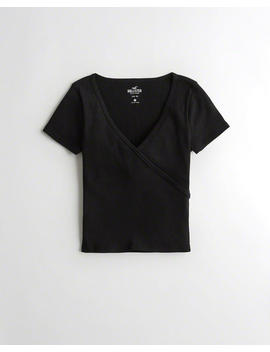 Ribbed Wrap Front T Shirt by Hollister