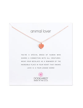Animal Lover Best Friend's Heart Necklace, Rose Gold by Dogeared