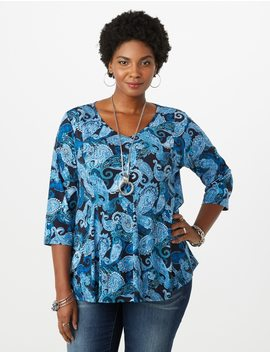 Plus Size Paisley Fit And Flare Top by Dressbarn
