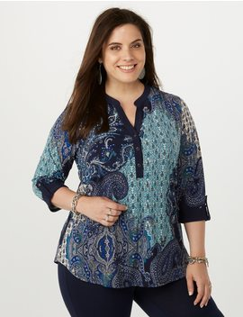Plus Size Paisley Tunic Top by Dressbarn