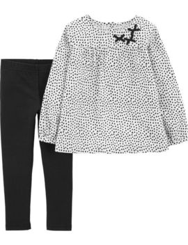 2 Piece Polka Dot Flannel Top & Legging Set by Carter's