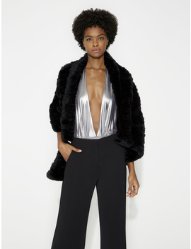 Convertible Fur Poncho Sweater by Halston