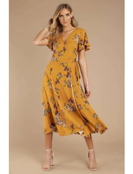 Count On Me Yellow Midi Wrap Dress by Tobi