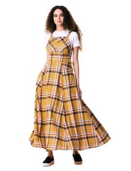 Cotton Plaid Jumper Maxi Dress by Eshakti
