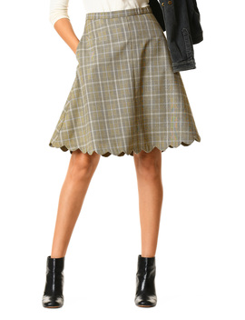 Glen Plaid Suiting Scallop Hem Skirt by Eshakti