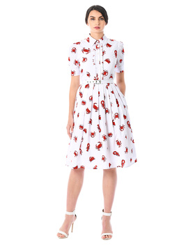 Lobster And Crab Print Crepe Belted Shirtdress by Eshakti
