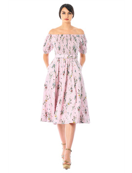 Off The Shoulder Smocked Floral Midi Dress by Eshakti