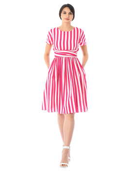 Stripe Print Crepe Asymmetric Waist Dress by Eshakti