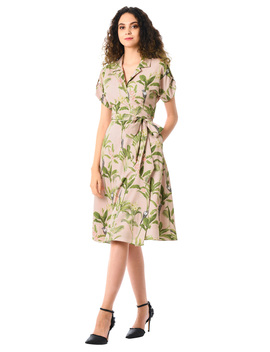 Notch Collar Tropical Palm With Bird Print Crepe Wrap Dress by Eshakti