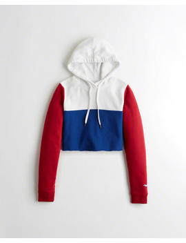Colorblock Ultra Crop Hoodie by Hollister