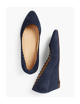 Laney Wedges   Kid Suede/Scalloped by Talbots