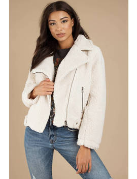 Astr Brooklyn Ivory Shearling Moto Jacket by Tobi