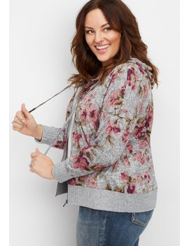 Plus Size Floral Zip Front Hoodie by Maurices