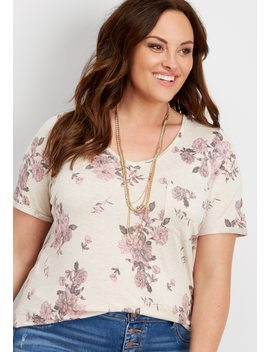 Plus Size 24/7 Floral V Neck Step Hem Tee by Maurices