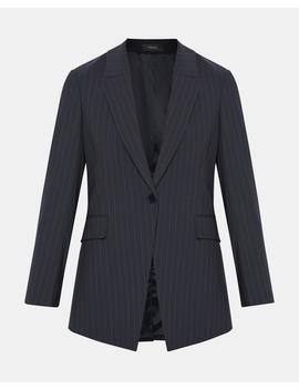 Good Wool Pinstripe Long Blazer by Theory