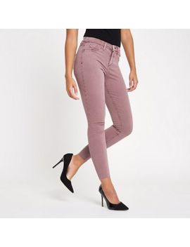 Dark Pink Molly Mid Rise Jeggings by River Island