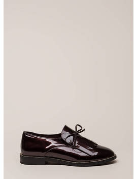 My Style Fringed Faux Patent Loafers by Go Jane