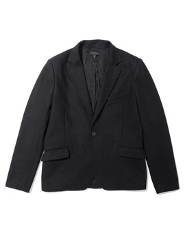 Mens Slim Wool Blazer With Leather Collar In Black by Dstld