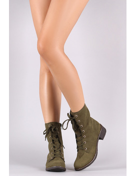 Bamboo Vegan Suede Stud Trim Sole Lace Up Combat Boot by Urbanog