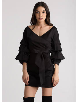 Ruffle Me Up Puffy Sleeve Wrap Dress by Go Jane