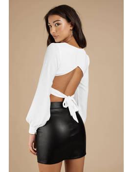 Neima White Open Back Blouse by Tobi