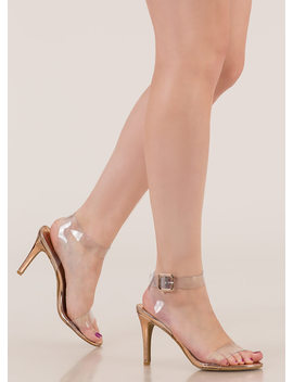 Make Yourself Clear Ankle Strap Heels by Go Jane