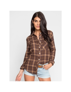 Heavyweight Plaid Flannel Button Up In Brown by Wet Seal