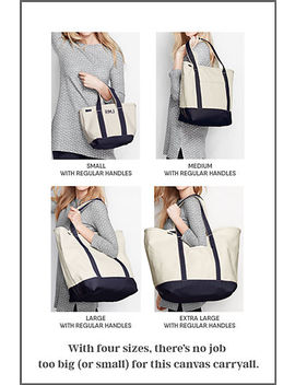 Medium Solid Color Zip Top Long Handle Canvas Tote Bag by Lands' End