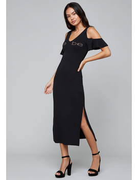 Logo Ruffle Maxi Dress by Bebe