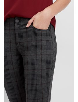 Plaid Ponte Five Pocket Skinny Ankle Pant by Maurices