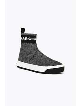 Metallic Logo Dart Sock Sneaker by Marc Jacobs