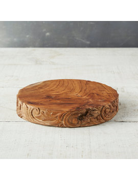 Carved Teak Serving Stand by Terrain