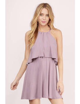 Daily Double Mauve Tiered Dress by Tobi