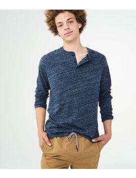 Long Sleeve Heathered Henley by Aeropostale