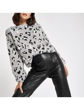 White Leopard Print Knitted Jumper by River Island