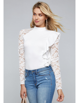 Camille One Ruffle Top by Bebe