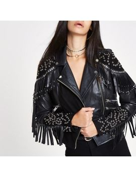 Ri 30 Black Studded Biker Leather Jacket by River Island