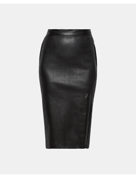 Zip Front Leather Pencil Skirt by Theory