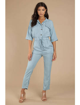 Just In Time Light Wash Chambray Jumpsuit by Tobi
