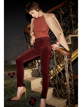 Maria High Rise Super Skinny In Oxblood Velveteen by J Brand