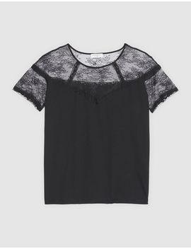 T Shirt Avec Empiècement De Dentelle by Sandro Paris