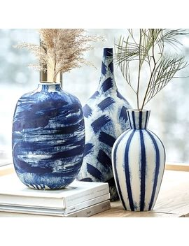 Limited Edition Abstract Indigo Vases by West Elm