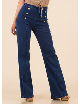 Right On The Button Flared Jeans by Go Jane