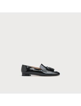 Rumi Black High Shine Leather Flats by L.K.Bennett