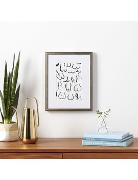 """Bums Black On White With Black Frame 13.5""""X16.75"""" by Crate&Barrel"""