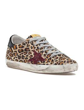 Women's Black Superstar Lace Up Sneaker Leopard Print Suede by Golden Goose Deluxe Brand