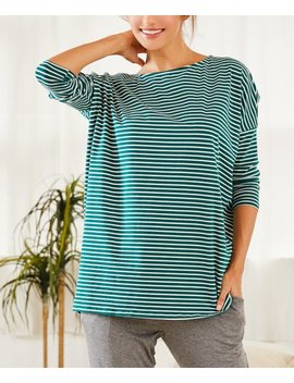 Teal &Amp; White Stripe Boatneck Tunic by Zulily