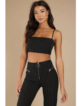 Tiger Mist Norah Black Pinstripe Crop Top by Tobi