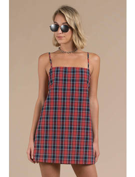 Arie Red And Navy Plaid Shift Dress by Tobi