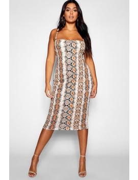 Robe Midi à Bretelles Spaghetti Serpent Plus by Boohoo